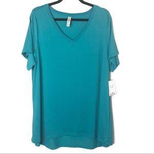 LuLaRoe Size 2X Christy Tee V Neck Blue New